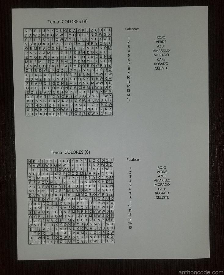 foto sopa de letras en hoja carta