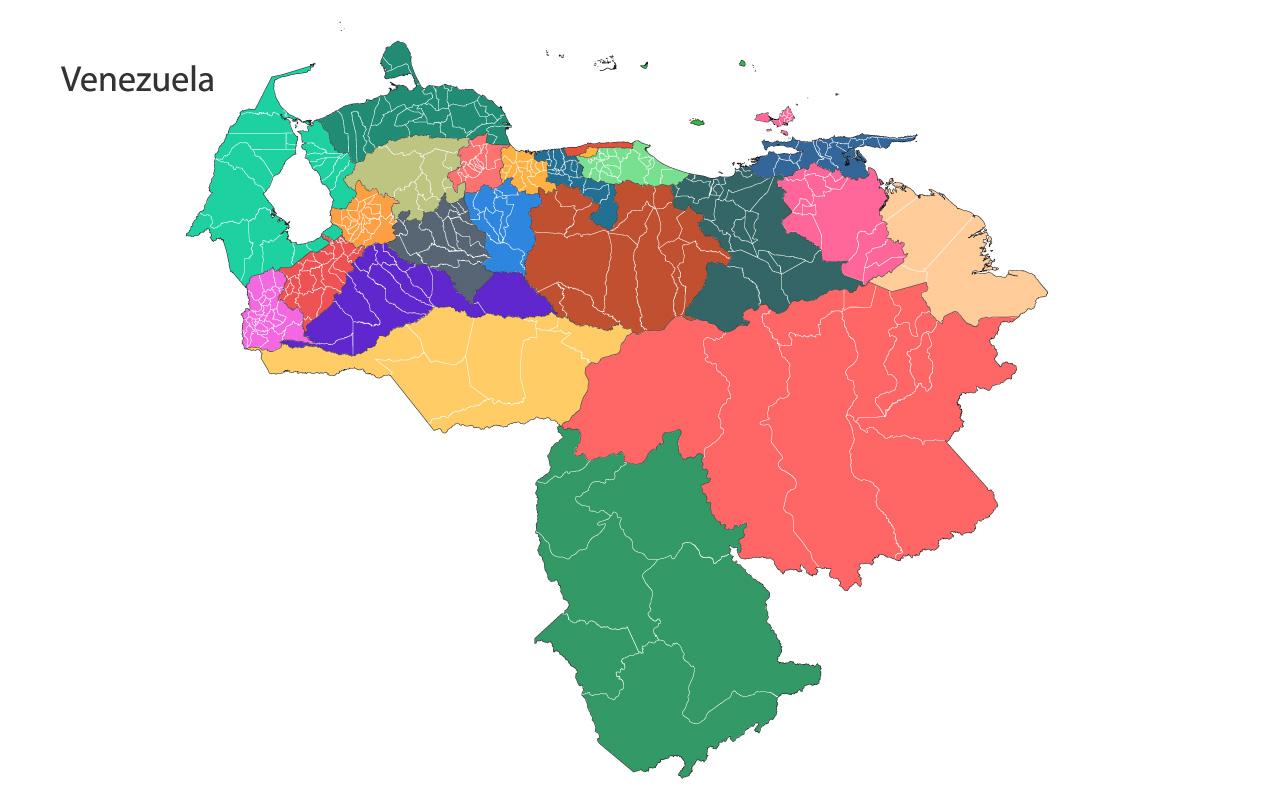 Mapa Político de Venezuela y Estados más Vector