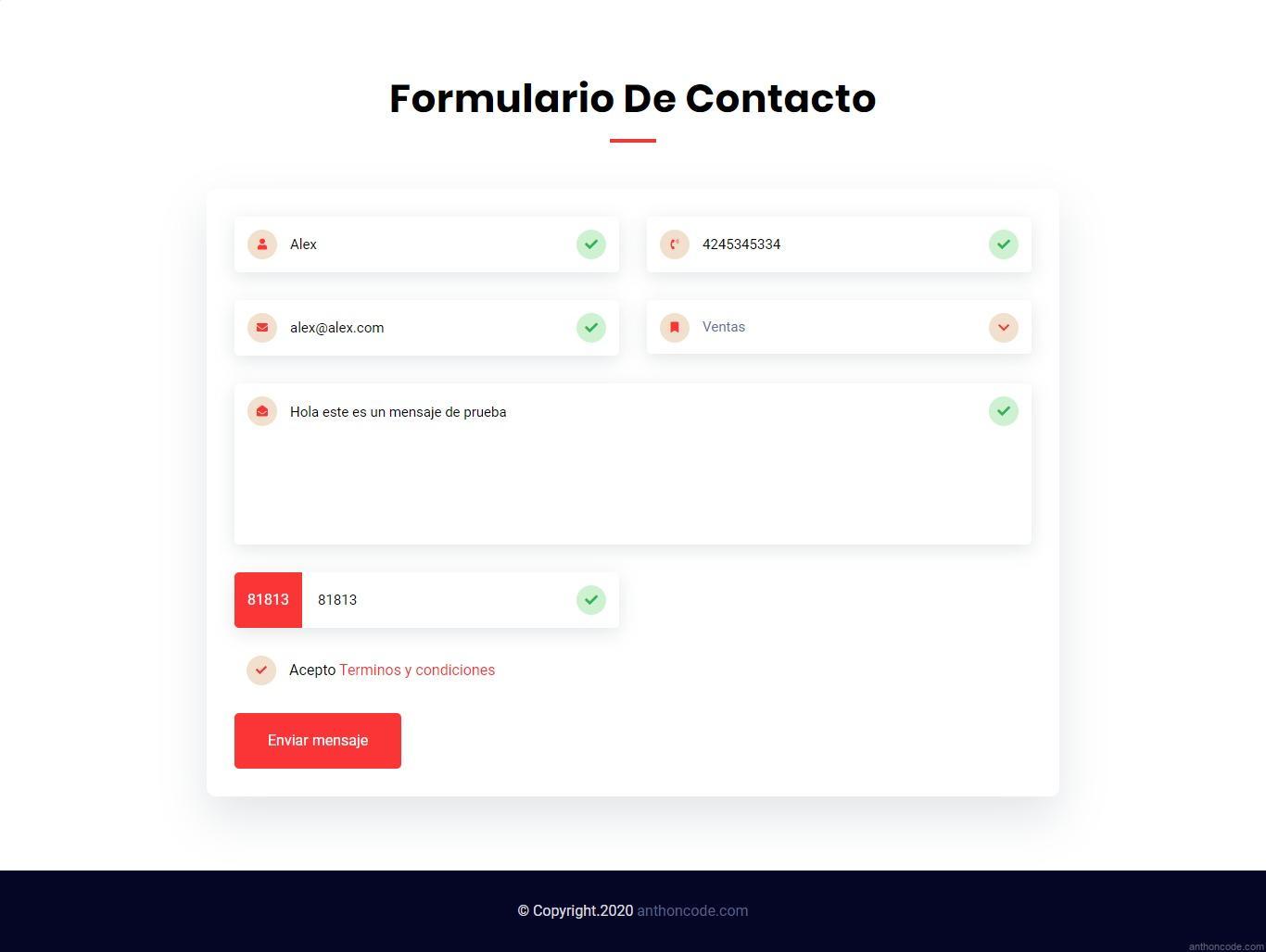 Formulario de contacto en PHP y Ajax