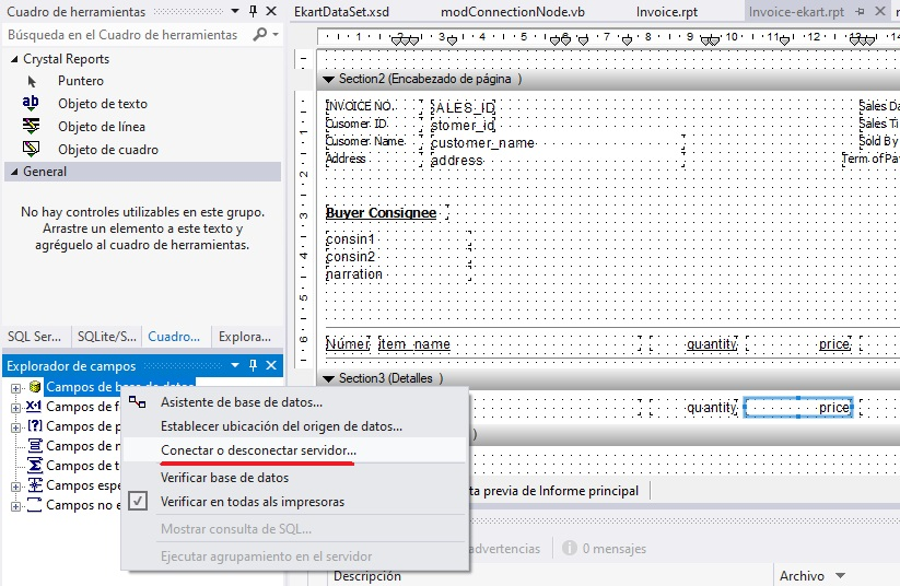 Conectar o desconectar servidor Visual Studio