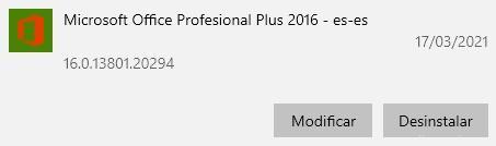 Modificar instalación de Microsoft Office