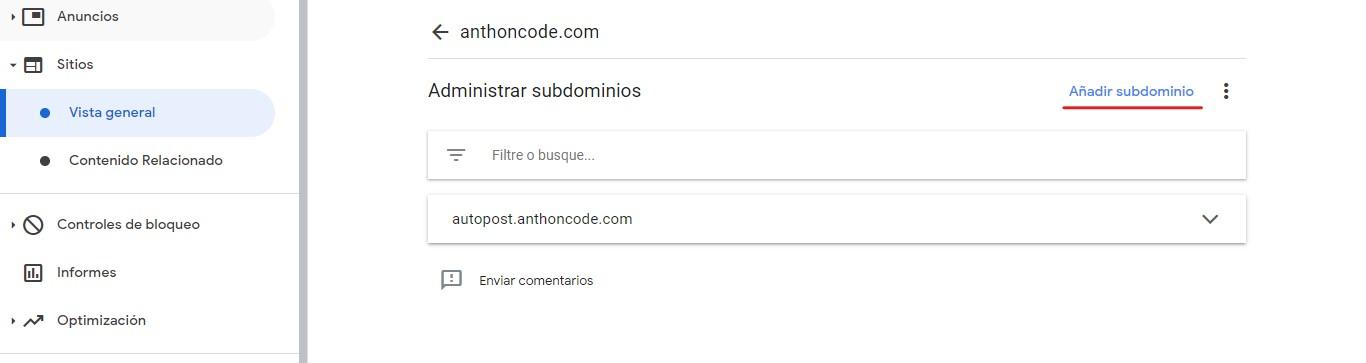 Agregar subdominio en AdSense
