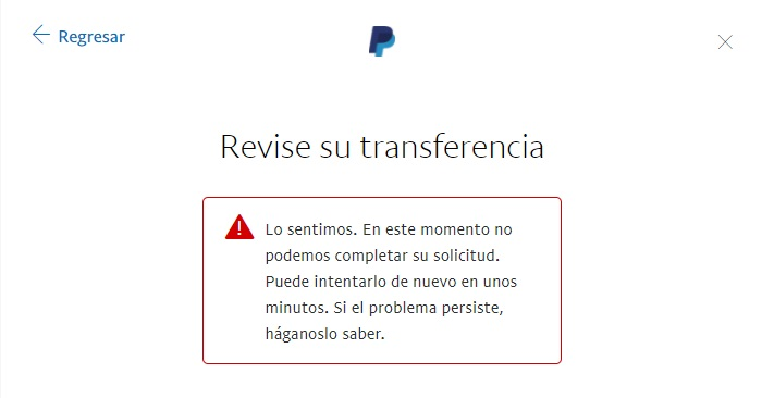 PayPal En este momento no podemos completar su solicitud.