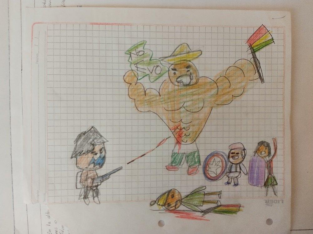 Dibujo de niños Evo Morales dictador Bolivia